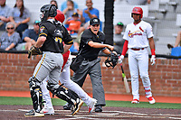 Bristol Pirates catcher Jason Delay (14) tags out Jonathan Rivera (52) as home plate umpire Josh Gilreath calls him out during a game against the Johnson City Cardinals at TVA Credit Union Ballpark on June 23, 2017 in Johnson City, Tennessee. The Pirates defeated the Cardinals 4-3. (Tony Farlow/Four Seam Images)