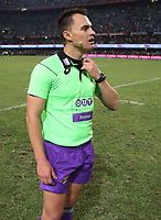 DURBAN, SOUTH AFRICA - APRIL 22: Referee: Marius van der Westhuizen of South Africa during the Super Rugby match between Cell C Sharks and Rebels at Growthpoint Kings Park on April 22, 2017 in Durban, South Africa. Photo: Steve Haag / stevehaagsports.com