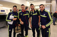 Wednesday 26 February 2014<br /> Pictured L-R: Alejandro Pozuelo, Alvaro Vazquez, Jordi Amat and Angel Rangel upon their arrival to Napoli.<br /> Re: Swansea City FC travel to Italy for their UEFA Europa League game against Napoli.