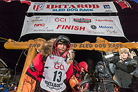 Mitch Seavey poses at the finish line in Nome, Alaska early on Wednesday morning March 14th after he placed 3rd in the 46th running of the 2018 Iditarod Sled Dog Race.  <br /> <br /> Photo by Jeff Schultz/SchultzPhoto.com  (C) 2018  ALL RIGHTS RESERVED