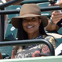 KEY BISCAYNE, FL - APRIL 04: Actress Gabrielle Union watches Serena Williams defeat Carla Suarez Navarro of Spain during the final on day 13 of the Miami Open at Crandon Park Tennis Center on April 4, 2015 in Key Biscayne, Florida.<br /> <br /> <br /> People:  Gabrielle Union<br /> <br /> Transmission Ref:  FLXX<br /> <br /> Must call if interested<br /> Michael Storms<br /> Storms Media Group Inc.<br /> 305-632-3400 - Cell<br /> 305-513-5783 - Fax<br /> MikeStorm@aol.com
