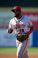 Richmond Flying Squirrels outfielder Heliot Ramos (18) jogs to the dugout during an Eastern League game against the Erie SeaWolves on August 28, 2019 at UPMC Park in Erie, Pennsylvania.  Richmond defeated Erie 6-4 in the first game of a doubleheader.  (Mike Janes/Four Seam Images)