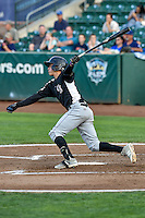 Jose Gomez (3) of the Grand Junction Rockies follows through on his swing against the Ogden Raptors during the Pioneer League game at Lindquist Field on August 26, 2016 in Ogden, Utah. The Raptors defeated the Rockies 6-5. (Stephen Smith/Four Seam Images)