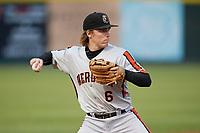 Aberdeen IronBirds third baseman Willy Yahn (6) throws to first base during a game against the Tri-City ValleyCats on August 27, 2018 at Joseph L. Bruno Stadium in Troy, New York.  Aberdeen defeated Tri-City 11-5.  (Mike Janes/Four Seam Images)