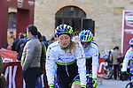 Orica-Ais women's team make their way to sign on before start the 2015 Strade Bianche Women Elite cycle race 103km over the white gravel roads from San Gimignano to Siena, Tuscany, Italy. 8th March 2015<br /> Photo: Eoin Clarke www.newsfile.ie