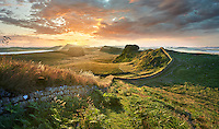 Hadrians Wall near Houseteads Roman Fort, Vercovicium, A UNESCO World Heritage Site, Northumberland, England, UK