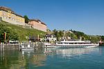 DEU, Deutschland, Baden-Wuerttemberg, Meersburg am Bodensee: Schiffsanlegestelle in der Unterstadt | DEU, Germany, Baden-Wuerttemberg, Meersburg at Lake Constance: landing stage at down town