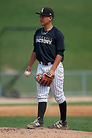 Pitcher Samson Barboza (14) during the Dominican Prospect League Elite Underclass International Series, powered by Baseball Factory, on August 2, 2017 at Silver Cross Field in Joliet, Illinois.  (Mike Janes/Four Seam Images)