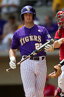 LSU Tigers catcher Ty Ross #26 during the NCAA Super Regional baseball game against Stony Brook on June 9, 2012 at Alex Box Stadium in Baton Rouge, Louisiana. Stony Brook defeated LSU 3-1. (Andrew Woolley/Four Seam Images)