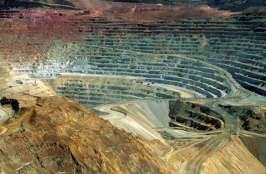 Overview of an open-pit copper mine. New Mexico.