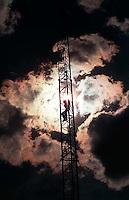 Doug Buzzell climbing a radio antenna we used to climb, 1987.&#xA;<br />