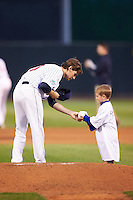 Cedar Rapids Kernels starting pitcher Miles Nordgren (20) signs an autograph for a young fan before the second game of a doubleheader against the Kane County Cougars on May 10, 2016 at Perfect Game Field in Cedar Rapids, Iowa.  Cedar Rapids defeated Kane County 3-2.  (Mike Janes/Four Seam Images)