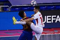 9th October 2020; Palau Blaugrana, Barcelona, Catalonia, Spain; UEFA Futsal Champions League Finals; FC Barcelona versus MFK KPRF;  Shiraishi and Niyazov challenge for a high ball