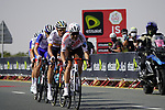The breakaway led by Tony Gallopin (FRA) AG2R Citroën Team with Luis León Sánchez (ESP) and Alexey Lutsenko (KAZ) Astana-Premier Tech, Matthieu Ladagnous and Attila Valter (FRA) Groupama-FDJ and Iñigo Elosegui (ESP) Movistar Team roll through the intermediate sprint at Al Quadra Cycle Track Stage 6 of the 2021 UAE Tour running 165km from Deira Island to Palm Jumeirah, Dubai, UAE. 26th February 2021.  <br /> Picture: Eoin Clarke   Cyclefile<br /> <br /> All photos usage must carry mandatory copyright credit (© Cyclefile   Eoin Clarke)