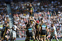 Joe Launchbury of Wasps wins a lineout ball during  the Premiership Rugby Final at Twickenham Stadium on Saturday 27th May 2017 (Photo by Rob Munro)