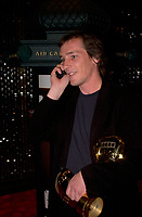 September 7,  2003, Montreal, Quebec, Canada<br /> <br /> Louis Belanger talk on a cell phone after GAZ BAR BLUES, the new film by Montreal director Louis  Belanger receive the Special Grand Prize of the Jury and also the OECUMNICAL AWARD for his movie, based on his father's life and values.<br /> <br /> <br /> <br /> The Festival runs from August 27th to september 7th, 2003<br /> <br /> <br /> Mandatory Credit: Photo by Pierre Roussel- Images Distribution. (©) Copyright 2003 by Pierre Roussel <br /> <br /> All Photos are on www.photoreflect.com, filed by date and events. For private and media sales
