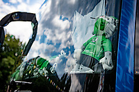 the Deceuninck-Quik Step teambus dashboard as a display of stage win trophies at the race start in Albertville<br /> <br /> Stage 10 from Albertville to Valence (191km)<br /> 108th Tour de France 2021 (2.UWT)<br /> <br /> ©kramon