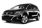 Stock pictures of low aggressive front three quarter view of 2016 Seat Alhambra Style Advance 5 Door Minivan Low Aggressive