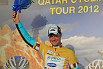 Tom Boonen (BEL) Omega Pharma-Quick Step wins Stage 1 and wears the first leaders jersey of the Tour of Qatar 2012 running 142.5km from Barzan Towers to Doha Golf Club, Doha, Qatar. 5th February 2012.<br /> (Photo by Eoin Clarke/NEWSFILE).
