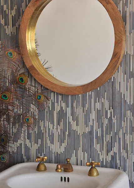 Weft, a jewel glass mosaic shown in Quartz and Pearl, is part of the Ikat Collection by New Ravenna.
