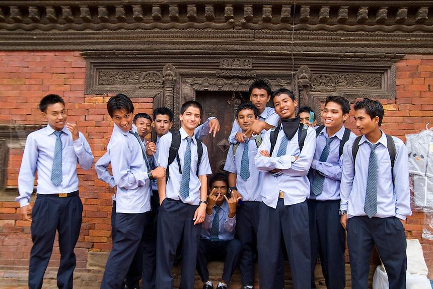 High school students in uniform. School in village of Bhaktapur a town near Kathmandu Nepal