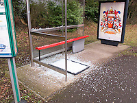 Vandalised bus shelter in North Guildford.  One of the main glass panels has been smashed.