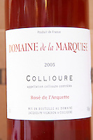 Cuvee Rose de l'Arquette. Domaine de la Marquise. Collioure. Roussillon. France. Europe. Bottle.