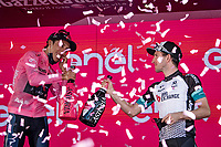 Egan Bernal (COL/Ineos Grenadiers) wins the 104th Giro d'Italia 2021 (2.UWT) and cheers with 3rd overall Simon Yates (GBR/Bike Exchange) on the podium<br /> <br /> Stage 21 (final ITT) from Senago to Milan (30.3km)<br /> <br /> ©kramon