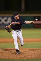 AZL Indians 1 relief pitcher Kellen Rholl (50) delivers a pitch during an Arizona League game against the AZL White Sox at Goodyear Ballpark on June 20, 2018 in Goodyear, Arizona. AZL Indians 1 defeated AZL White Sox 8-7. (Zachary Lucy/Four Seam Images)