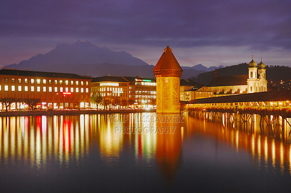 Chapel Bridge and Water tower at dusk, Lucerne, Switzerland