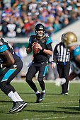 Jacksonville Jaguars quarterback Blake Bortles (5) looks to pass during an NFL Wild-Card football game against the Buffalo Bills, Sunday, January 7, 2018, in Jacksonville, Fla.  (Mike Janes Photography)
