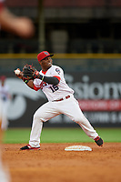 Louisville Bats second baseman Dilson Herrera (15) throws to first base during a game against the Columbus Clippers on May 1, 2017 at Louisville Slugger Field in Louisville, Kentucky.  Columbus defeated Louisville 6-1  (Mike Janes/Four Seam Images)