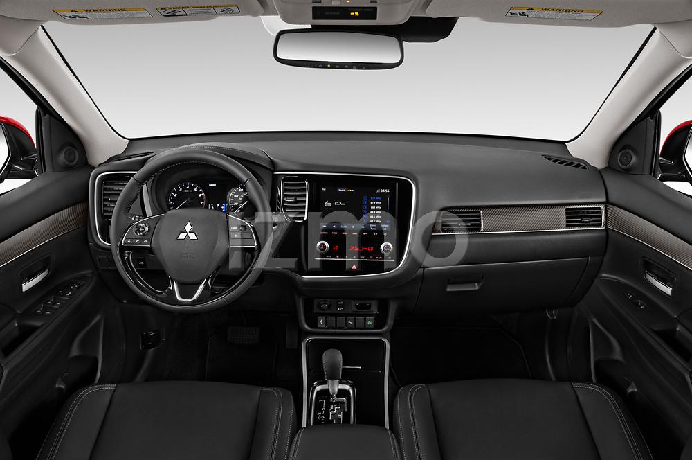 Stock photo of straight dashboard view of 2020 Mitsubishi Outlander SEL 5 Door SUV Dashboard