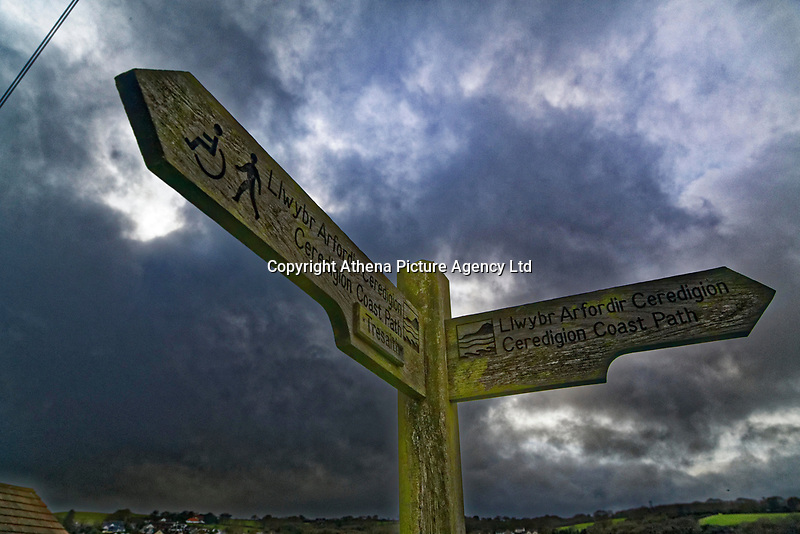 The Ceredigion Coastal Path sign in Aberporth