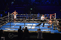 Hamzah Sheeraz (white shorts) defeats Ezequiel Gurria during a Boxing Show at the SSE Arena on 24th July 2021
