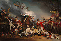 The Death of General Mercer at the Battle of Princeton, January 3, 1777 displays several events at the Battle of Princeton. At the center, American General Hugh Mercer, with his horse beneath him, is mortally wounded. At the left, American Daniel Neil is bayoneted against a cannon. At the right, British Captain William Leslie is shown mortally wounded. In the background, American General George Washington and Doctor Benjamin Rush enter the scen
