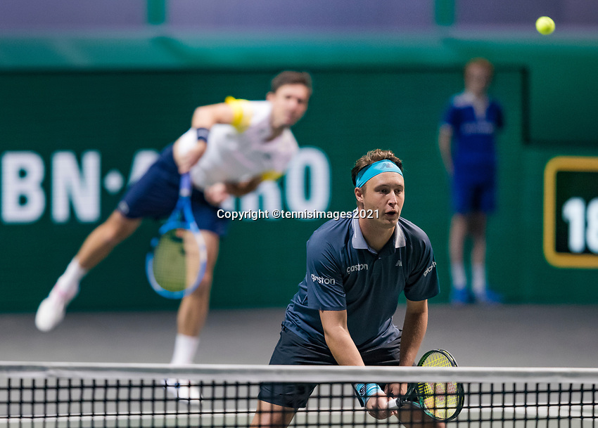 Rotterdam, The Netherlands, 6 march  2021, ABNAMRO World Tennis Tournament, Ahoy,  <br /> Semi final doubles:  Henri Kontinen (FIN) / Eduoard Roger-Vasselin (FRA).<br /> Photo: www.tennisimages.com/henkkoster