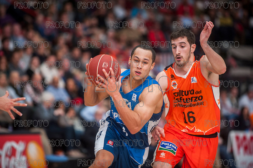 VALENCIA, SPAIN - NOVEMBER 22: Andrew Lawrence, Guillem Vives during Endesa League match between Valencia Basket Club and Retabet.es GBC at Fonteta Stadium on November 22, 2015 in Valencia, Spain