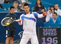 Tenis, Serbia Open 2011.Final.Novak Djokovic (SRB) Vs. Feliciano Lopez (ESP).Novak Djokovic, returns the ball.Beograd, 01.05.2011..foto: Srdjan Stevanovic