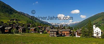 Switzerland, Canton Valais, Reckingen at valley Goms with parish church