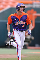 Junior infielder Eli White (4) (Wren High School) of the Clemson Tigers in a fall practice intra-squad Orange-Purple scrimmage on Saturday, September 26, 2015, at Doug Kingsmore Stadium in Clemson, South Carolina. (Tom Priddy/Four Seam Images)