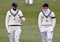 Jack Leaning (L) and Jordan Cox of Kent in discussion during Kent CCC vs Yorkshire CCC, LV Insurance County Championship Group 3 Cricket at The Spitfire Ground on 15th April 2021