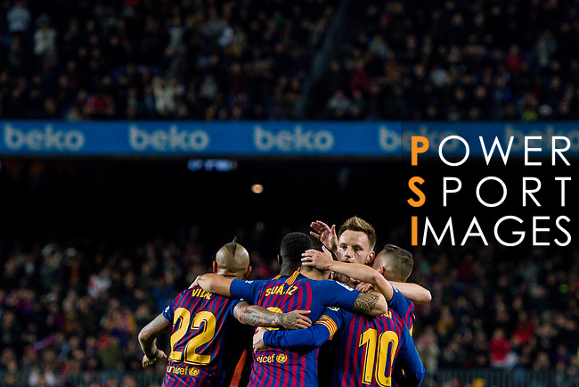 Lionel Andres Messi of FC Barcelona celebrates scoring the goal with teammates during the La Liga 2018-19 match between FC Barcelona and RC Celta de Vigo at Camp Nou on 22 December 2018 in Barcelona, Spain. Photo by Vicens Gimenez / Power Sport Images