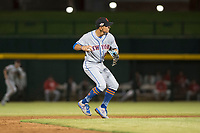 Scottsdale Scorpions shortstop Andres Gimenez (13), of the New York Mets organization, prepares to make a throw to first base during an Arizona Fall League game against the Mesa Solar Sox at Sloan Park on October 10, 2018 in Mesa, Arizona. Scottsdale defeated Mesa 10-3. (Zachary Lucy/Four Seam Images)