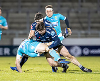 8th January 2021; AJ Bell Stadium, Salford, Lancashire, England; English Premiership Rugby, Sale Sharks versus Worcester Warriors; Chris Pennell of Worcester Warriors is tackled by Tom Curry of Sale Sharks