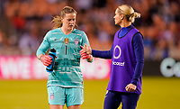 HOUSTON, TX - FEBRUARY 03: Alyssa Naeher #1 and Ashlyn Harris #18 of the United States during a game between Costa Rica and USWNT at BBVA Stadium on February 03, 2020 in Houston, Texas.