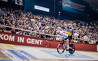 Mark Cavendish (GBR) wins his derny race of the day<br /> <br /> zesdaagse Gent 2019 - 2019 Ghent 6 (BEL)<br /> day 2<br /> <br /> ©kramon