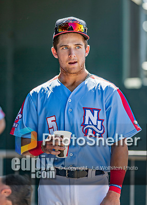 23 June 2019: New Hampshire Fisher Cats shortstop Logan Warmoth in the dugout during a game against the Trenton Thunder at Northeast Delta Dental Stadium in Manchester, NH. The Thunder defeated the Fisher Cats 5-2 in Eastern League play. Mandatory Credit: Ed Wolfstein Photo *** RAW (NEF) Image File Available ***