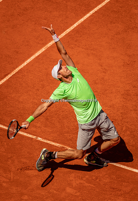 Paris, France, 2 june, 2019, Tennis, French Open, Roland Garros, Leonardo Mayer (ARG)<br /> Photo: Henk Koster/tennisimages.com