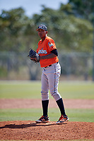 Miami Marlins pitcher Humberto Mejia (91) during a Minor League Spring Training Intrasquad game on March 27, 2018 at the Roger Dean Stadium Complex in Jupiter, Florida.  (Mike Janes/Four Seam Images)